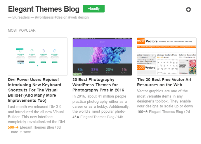 The Elegant Themes RSS feed, as seen from Feedly.