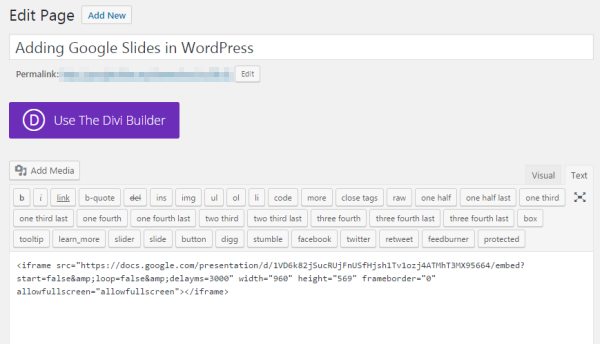 how to add google slides presentations to your wordpress website