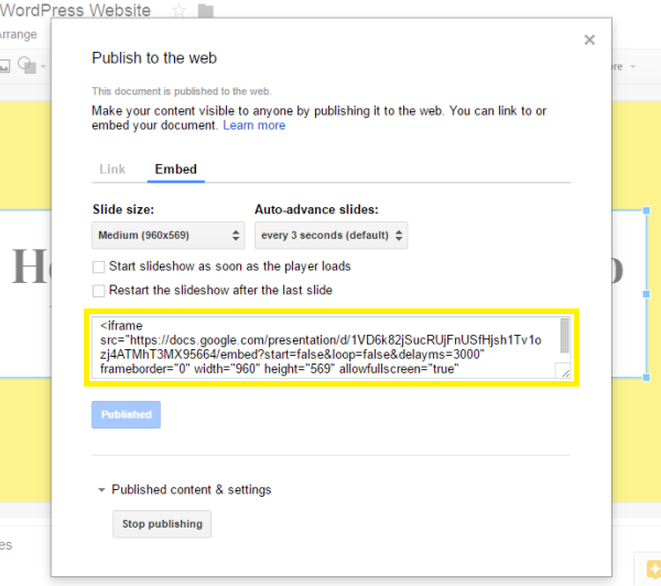 The 'Publish to the web' screen in Google Slides.