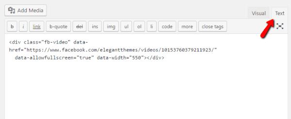 Embed Facebook video code