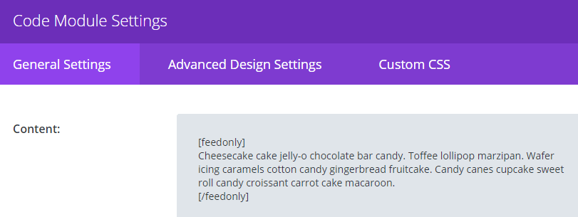 A screenshot of the Divi Code module with our feed exclusive content.