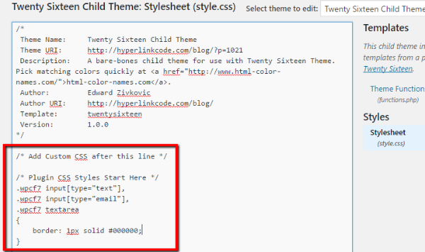 Custom CSS in WordPress
