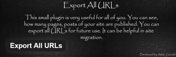 Plugin to export WordPress URLs