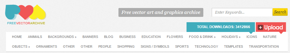 The Free Vector Archive homepage.