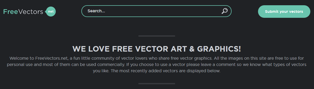 The Free Vectors homepage.