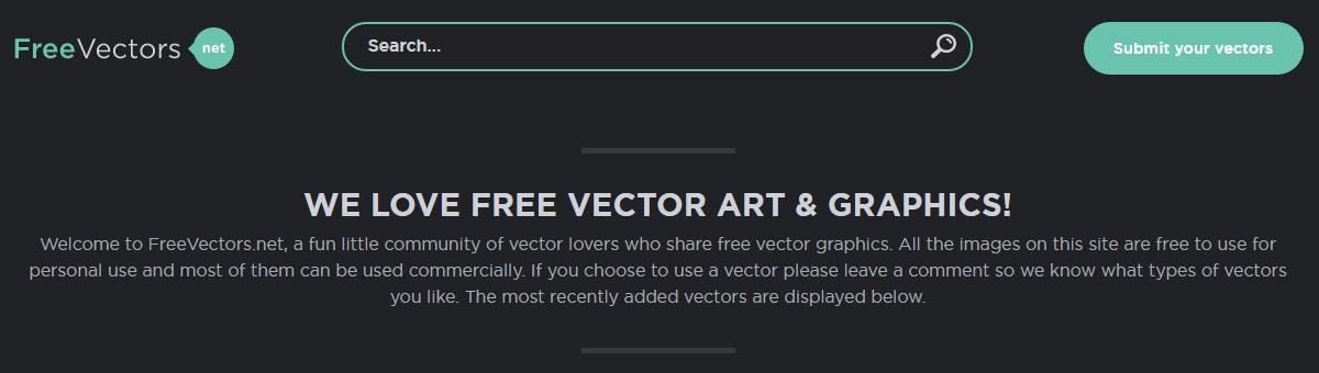 The Free Vectors homepage.
