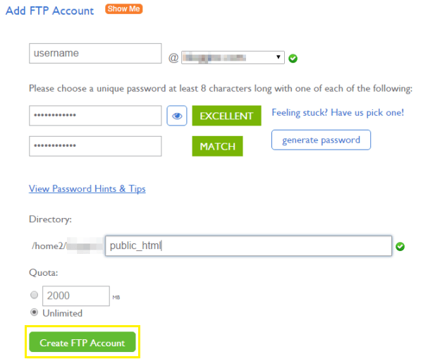 Adding an FTP account through cPanel.
