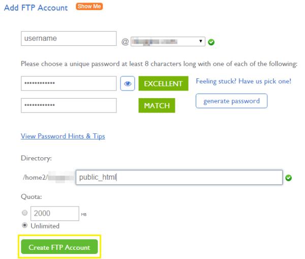 Adding an FTP account through cPanel.