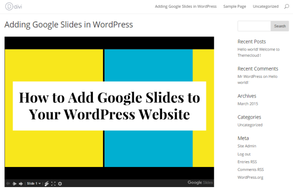 Preview of Google Slides in WordPress.