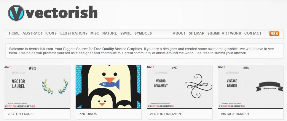 The Vectorish homepage.