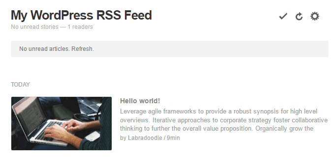 An example of a WordPress RSS feed.