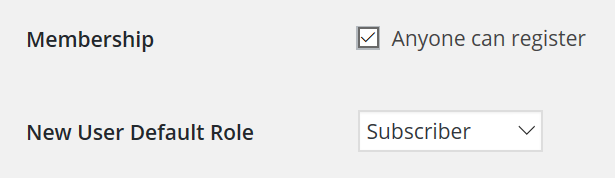 Membership and New User Default Role tabs in the settings screen.