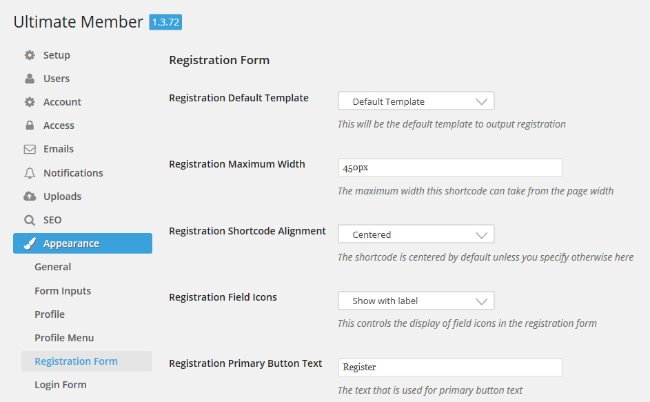 The Ultimate Member registration form appearance settings screen