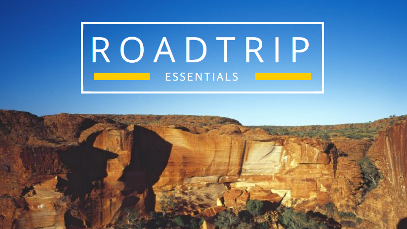 "A Canva blog title with an image of a cliff and the title ""Roadtrip Essentials""."