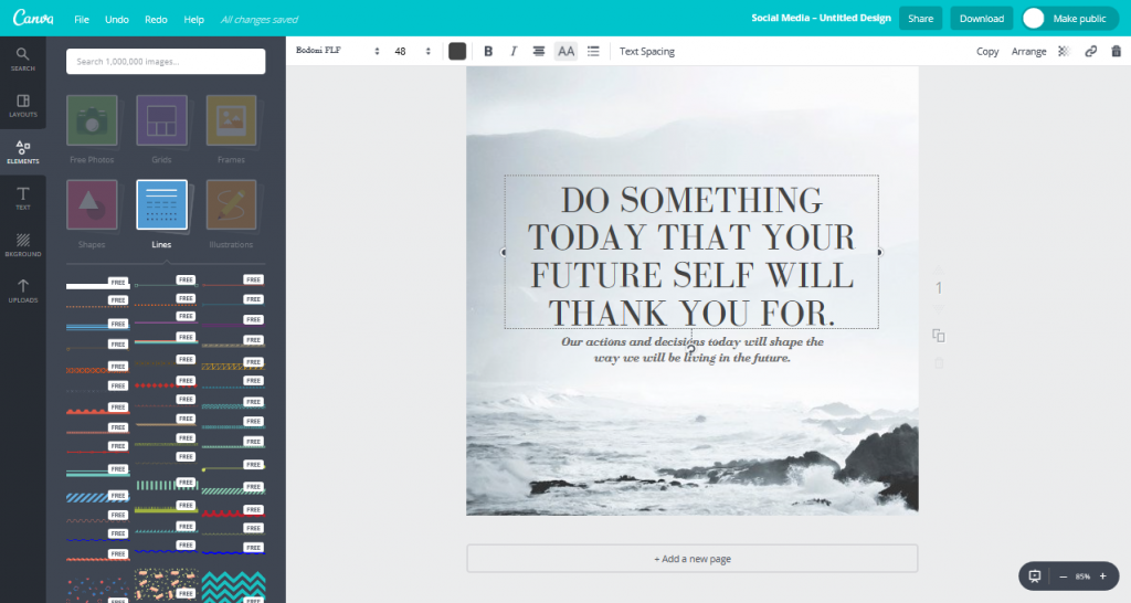 Canva's design interface.