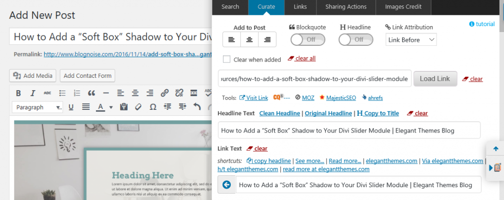 The WordPress post editor screen with the Curation Suite sidebar