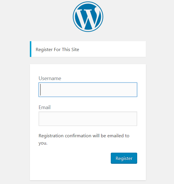The default WordPress registration page with the WordPress logo, a username field, and email field, and a Register button