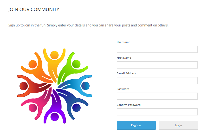 "A registration page entitled ""Join Our Community"" with a registration form and a colorful illustration of a circle of people"
