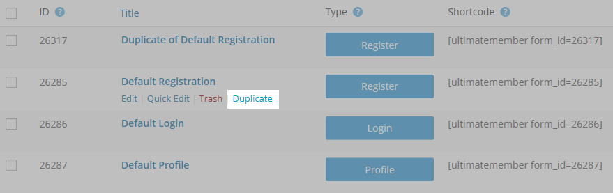Ultimate Member default forms with the Duplicate button highlighted