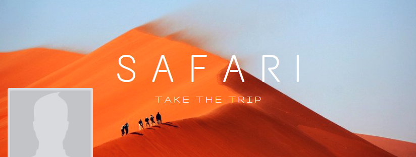"A premade Canva Facebook cover with an image of people walking across a desert and the title ""Safari: Take the Trip""."