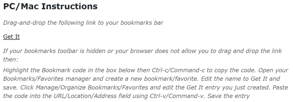 The Get It bookmarklet and instructions for adding it to the bookmarks ttolbar