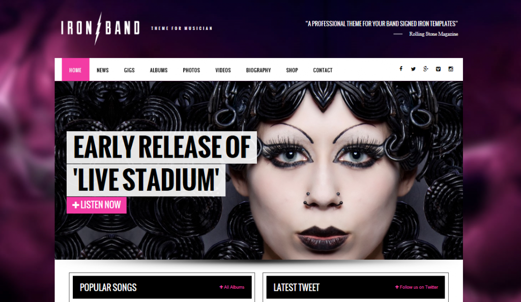 IronBand theme demo homepage