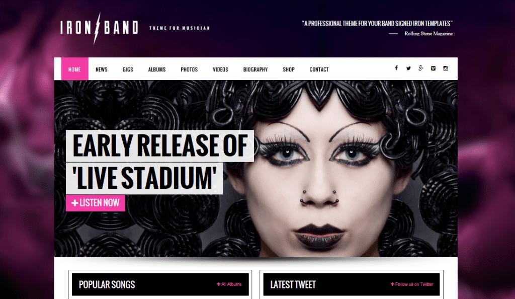 IronBand theme demo homepage