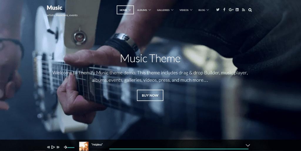 Music theme demo homepage