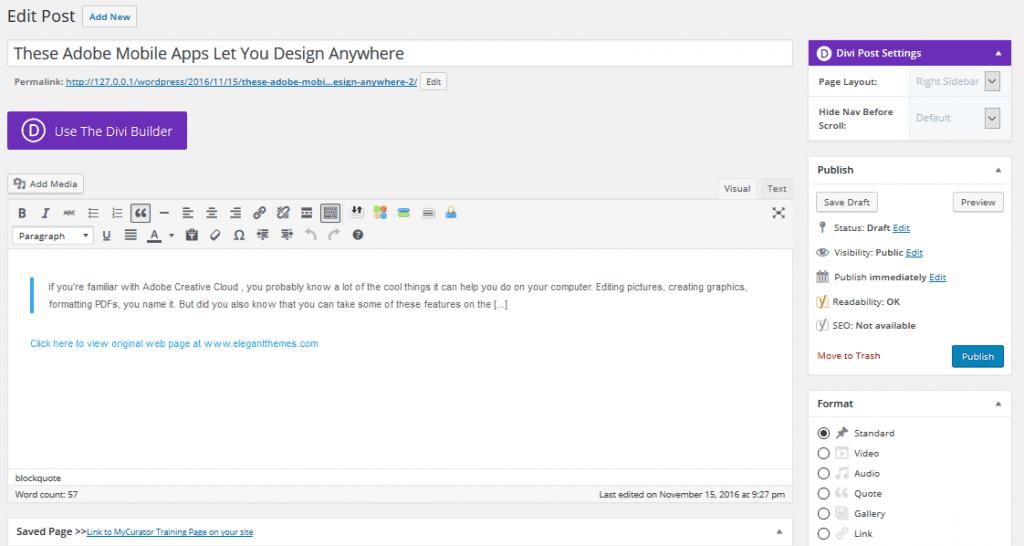 The WordPress post editor screen prefilled using MyCurator