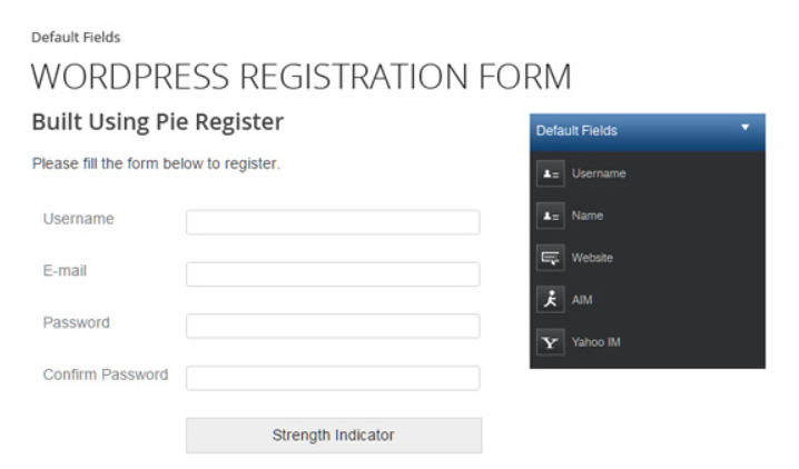 An example Pie Register form