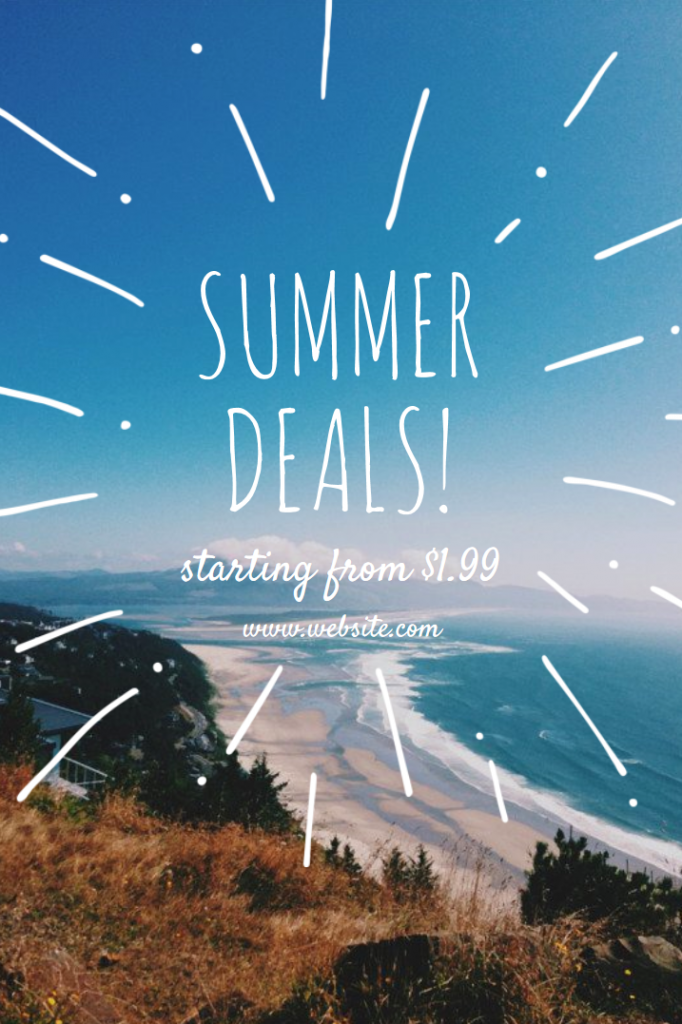 "A Canva Pinterest graphic showing a picture of a beach and the title ""Summer Deals!"""