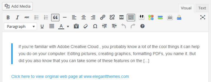 An example fo the WordPress visual editor prefilled with an excerpt and link to the original source