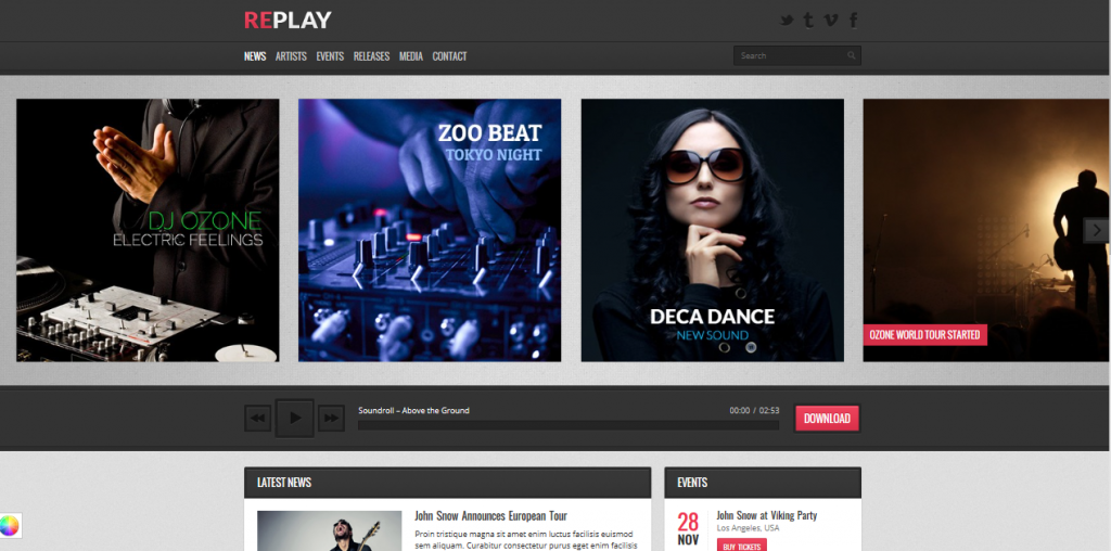 Replay theme demo homepage