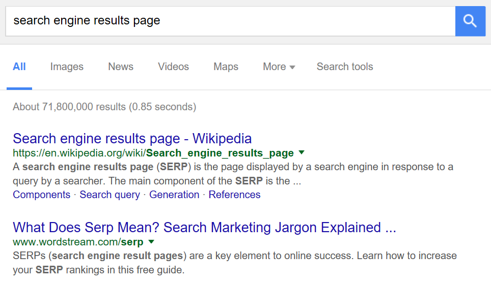 A section of a search engine results page