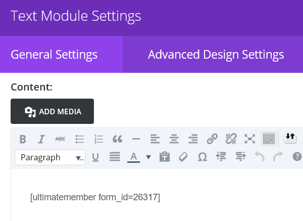 The Divi Text Module Settings screen with the Ultimate Member shortcode
