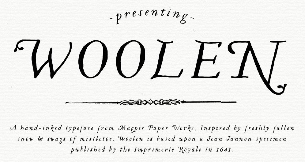 Woolen calligraphic font