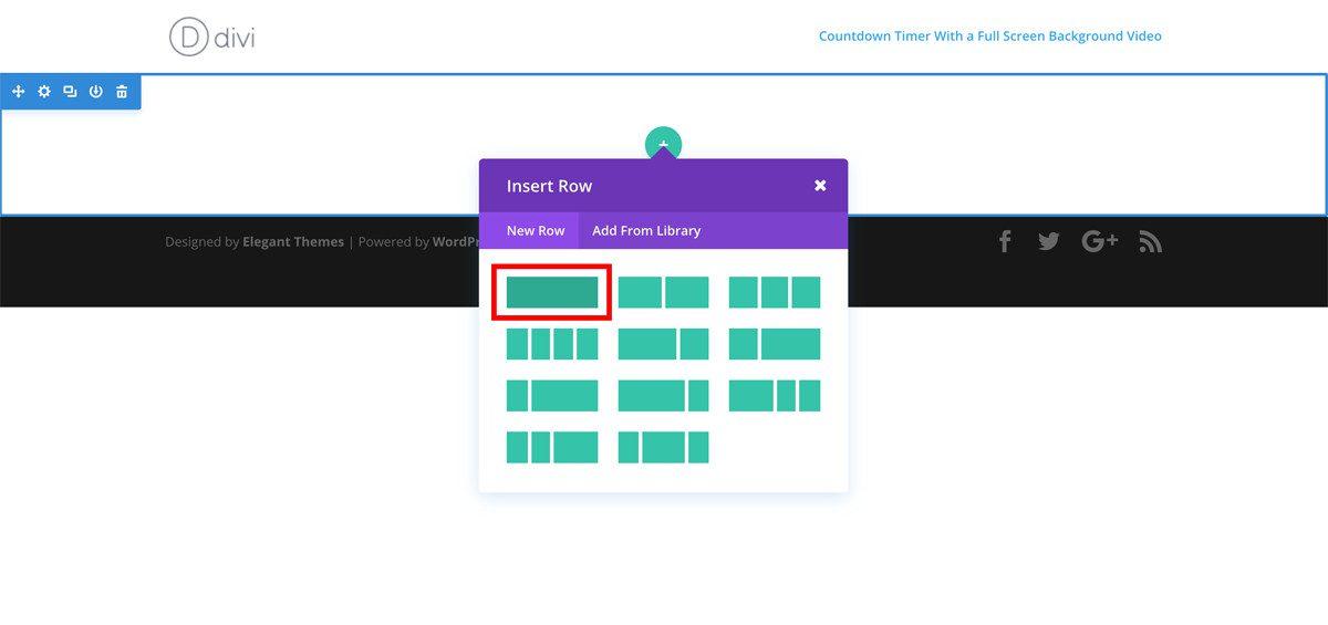 adding-one-column-row-to-divi-visual-builder