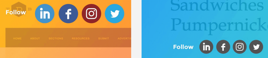 Two examples of AddThis social follow buttons.