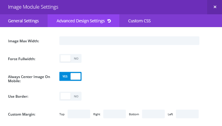 The Advanced Design Settings screen