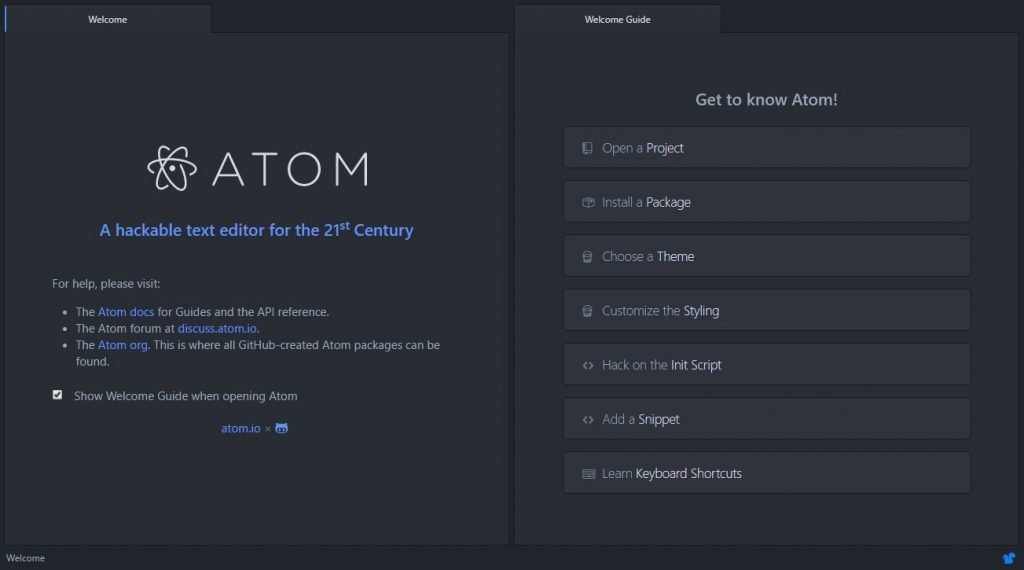atom welcome screen