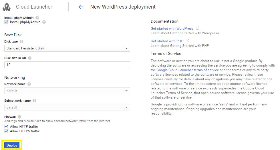 Deploy WordPress installation