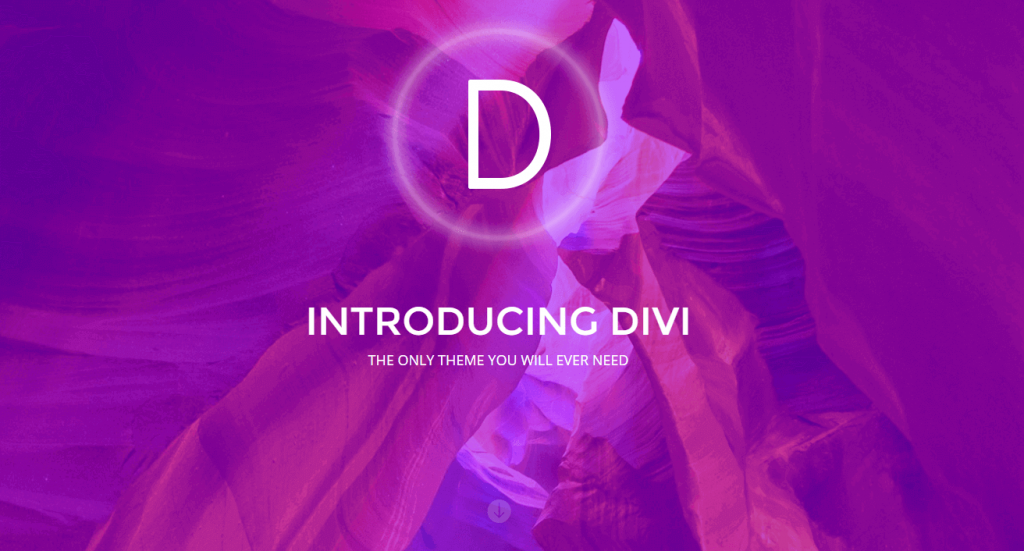 An example of a Divi splash page.