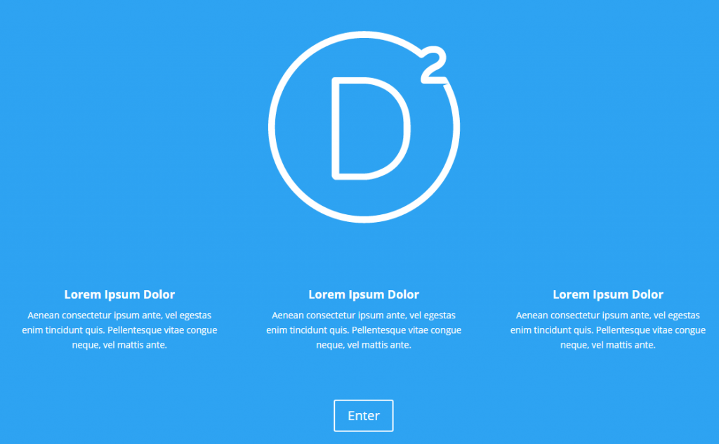 The original Divi Splash Page layout.