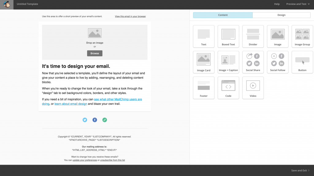 The drag-and-drop template builder.
