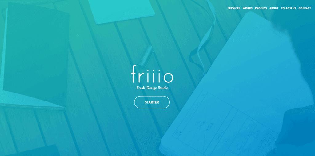 The Friiio homepage.