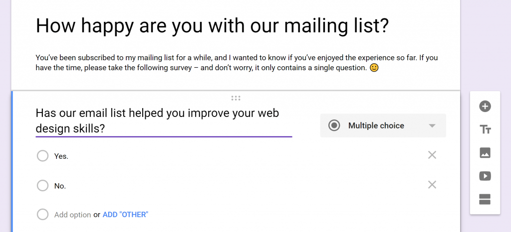 An example of a survey built using Google Forms.