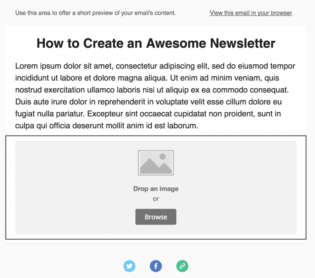 Adding an Image content block to your newsletter.