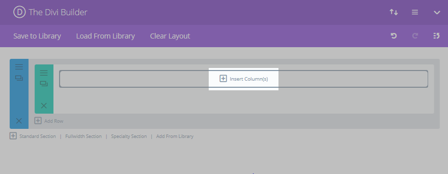 The Divi Builder with the Insert Columns button highlighted