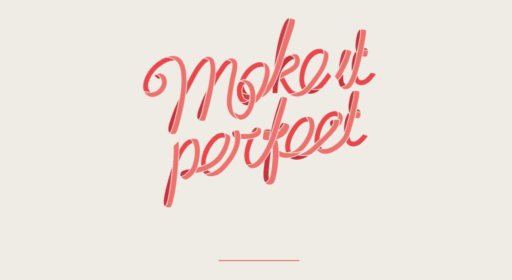 The Make It Perfect splash page.
