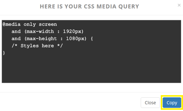 A text editor screen showing CSS media query.